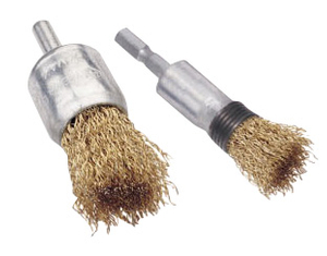 Spindle wire brush