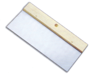 Spatula with wooden handle and hanging hole